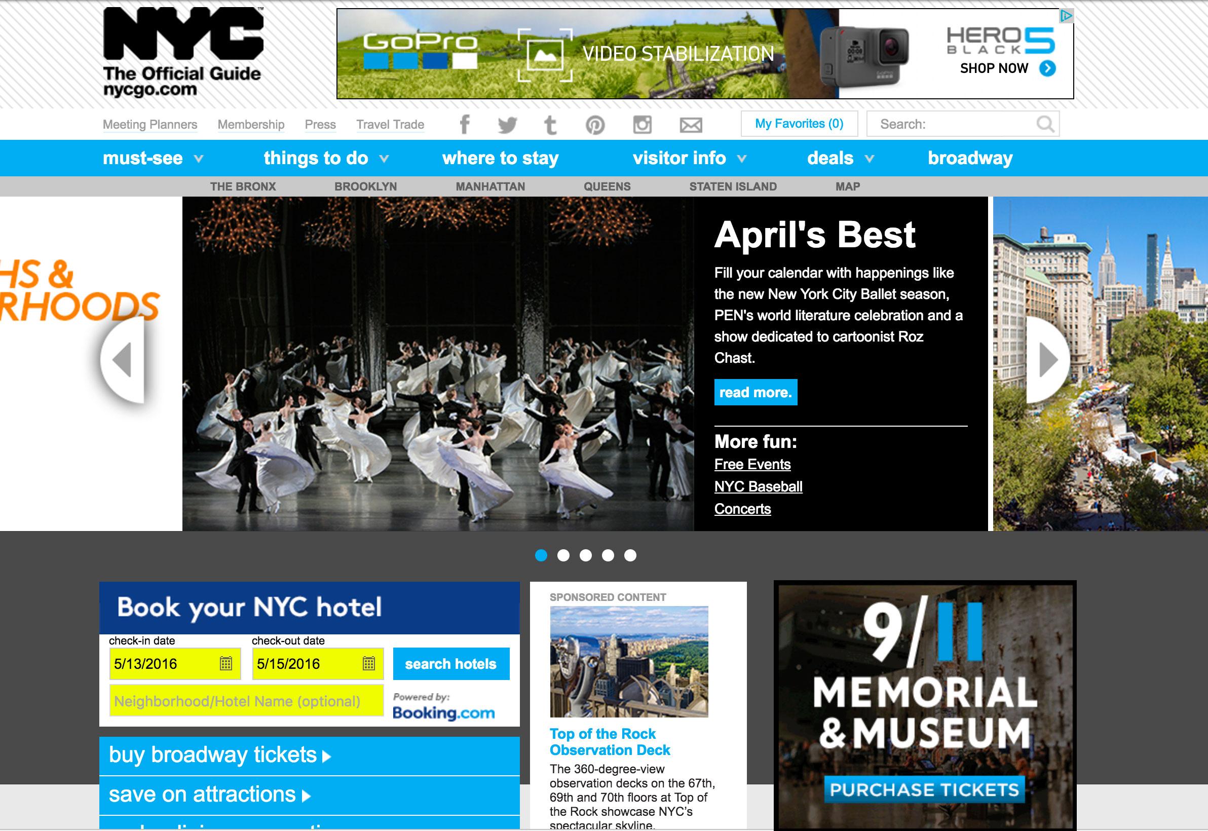 NYCgo.com website before relaunch